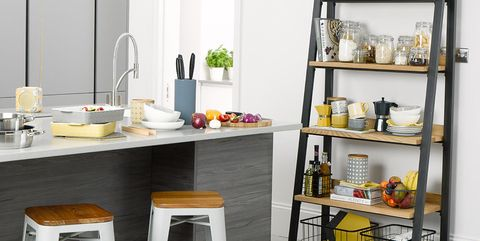 Furniture, Shelf, Yellow, Table, Room, Shelving, Desk, Stool, Chair, Bar stool,