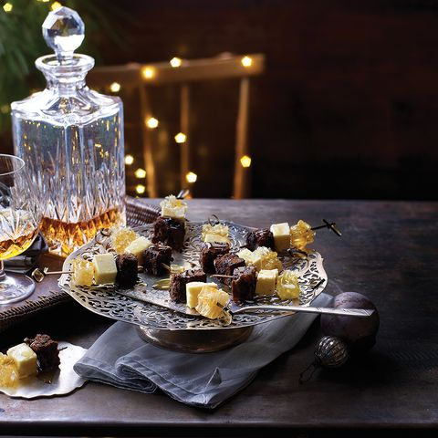 Christmas cake, Wensleydale and honeycomb skewers