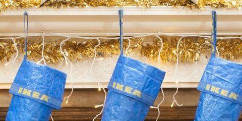 Blue, Jeans, Footwear, Christmas stocking, Denim, Textile, Shoe, Sock, Electric blue, Interior design,