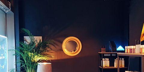 Interior design, Sky, Room, Light, Lighting, Living room, Furniture, Building, Night, Table,