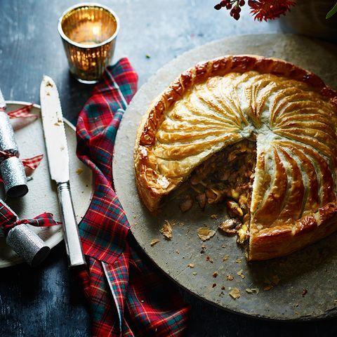 vegetarian christmas recipe brie and mushroom vegetarian pie