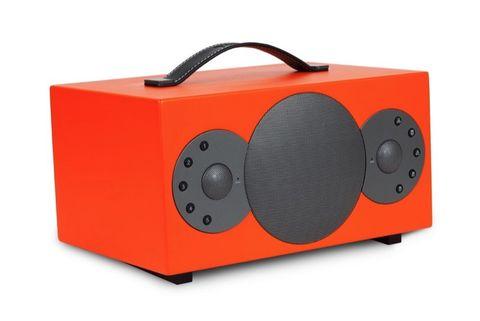 Boombox, Electronics, Orange, Electronic instrument, Electronic device, Technology, Audio equipment,