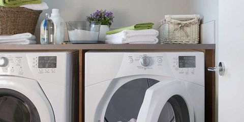 Washing machine, Laundry, Major appliance, Clothes dryer, Laundry room, Home appliance, Room, Small appliance, Shelf, Furniture,