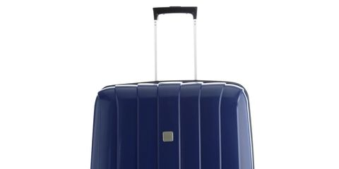 Suitcase, Hand luggage, Cobalt blue, Baggage, Luggage and bags, Bag, Wheel, Rolling, Automotive wheel system, Electric blue,