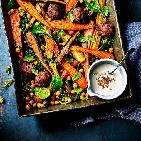 best traybake recipes carrot, chickpea and falafel tray bake