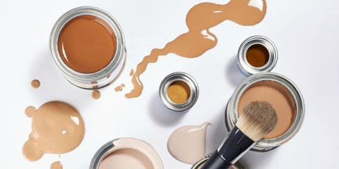Cosmetics, Skin, Beauty, Powder, Beige, Material property, Peach, Metal,