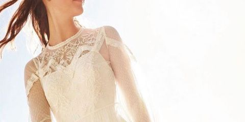 Clothing, Wedding dress, Dress, Shoulder, Gown, Bridal clothing, Bridal party dress, Bride, Joint, A-line,