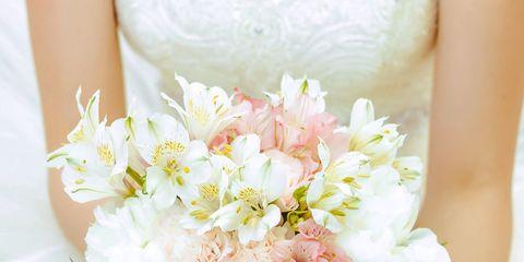 Bouquet, Flower, Pink, Cut flowers, Plant, Hand, Dress, Peony, Petal, Bride,