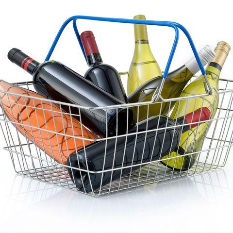Shopping cart, Basket, Bottle, Storage basket, Vehicle, Wine bottle, Home accessories,