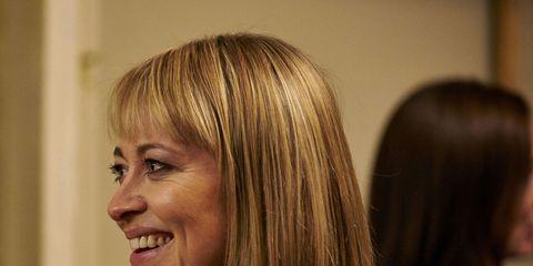 Hair, Face, Hairstyle, Blond, Layered hair, Hair coloring, Smile, Long hair, Bob cut, Feathered hair,