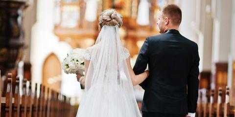 Bride, Wedding dress, Gown, Dress, Photograph, Bridal clothing, Clothing, Shoulder, Veil, Bridal party dress,