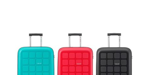 Suitcase, Hand luggage, Baggage, Bag, Luggage and bags, Plastic, Magenta, Rectangle, Rolling, Fashion accessory,