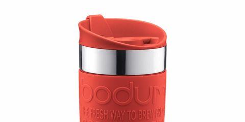 Red, Orange, Tumbler, Vacuum flask, Drinkware, Material property, Cylinder, Tableware, Lid,