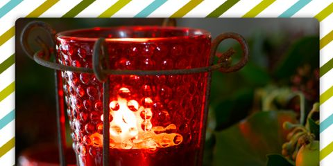 Green, Red, Light, Drinkware, Interior design, Still life photography, Rectangle, Candle, Cup, Home accessories,