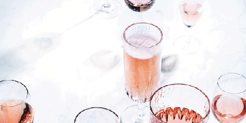 Drink, Wine glass, Champagne cocktail, Glass, Alcoholic beverage, Stemware, Drinkware, Pink, Wine cocktail, Cocktail,