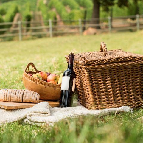 Basket, Picnic basket, Picnic, Wicker, Storage basket, Grass, Recreation, Home accessories,