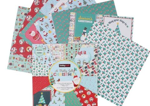 buy now holly jolly christmas paper pack 24 6x6 inch sheets 3 from hobbycraft - Christmas Paper