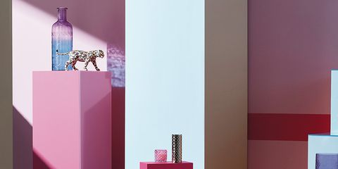 Pink, Magenta, Violet, Purple, Room, Interior design, Furniture, Table, Wall, Shelf,