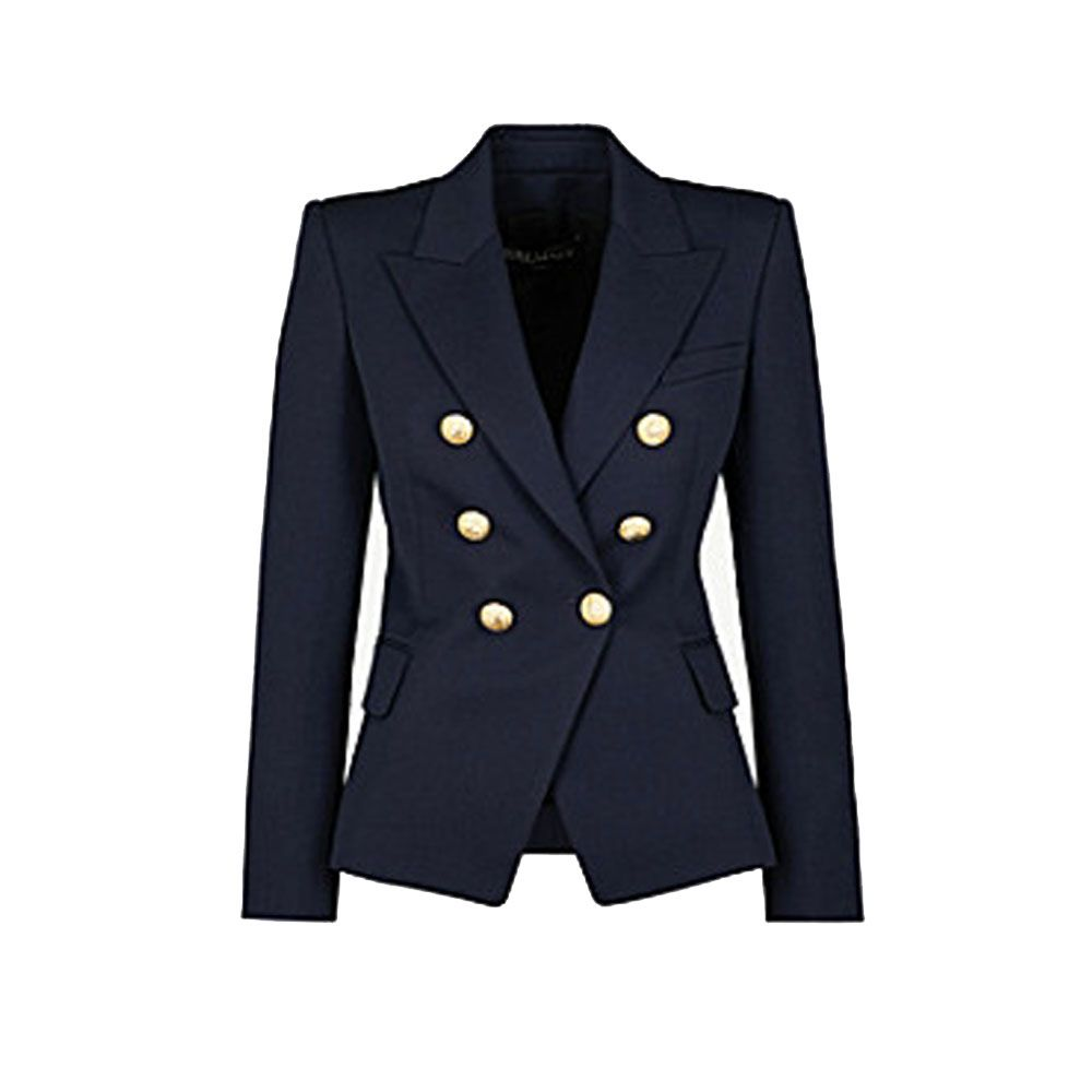White Double Breasted Blazer Futured With Beautiful Gold Detail Buttons Balmain