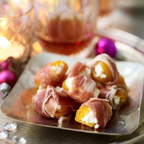 Food, Ingredient, Serveware, Cuisine, Peach, Prosciutto, Salt-cured meat, Salumi, Dish, Meat,