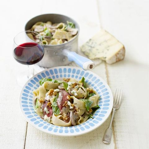 steak with blue cheese and mushroom pappardelle
