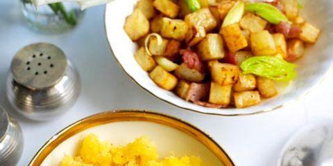 Food, Yellow, Cuisine, Tableware, Kitchen utensil, Recipe, Meal, Dish, Dishware, Vegetarian food,