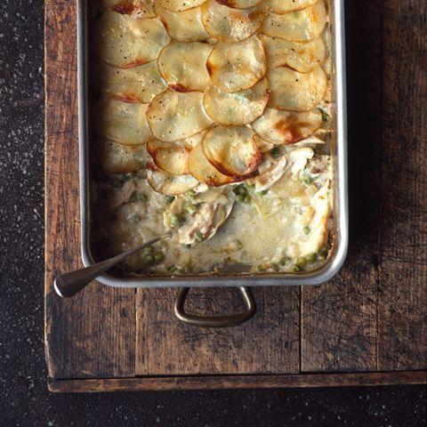 creamy ovenbaked chicken with garlic potatoes