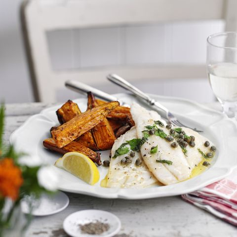 best sweet potato recipes herby buttered sole with sweet potato wedges