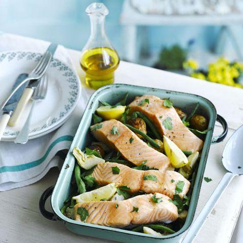 Salmon tray bake