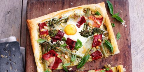 Food, Finger food, Pizza, Baked goods, Vegetable, Ingredient, Dish, Recipe, Cuisine, Pizza cheese,