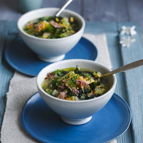 Slow cooker ham and lentil soup