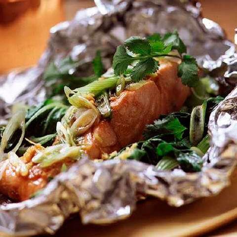 steam grilled salmon