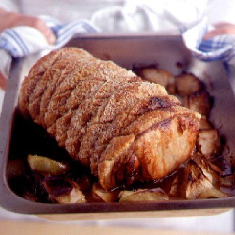 Crisp roast pork with apple sauce