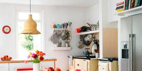 Room, Interior design, Floor, Table, Furniture, Flooring, Orange, Chair, Interior design, Home,