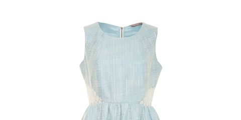 Blue, Product, Sleeve, Dress, Textile, White, Pattern, One-piece garment, Style, Teal,