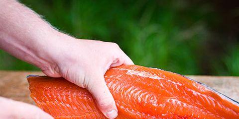 Finger, Food, Orange, Nail, Seafood, Ingredient, Salmon, Fish, Fish slice, Lox,