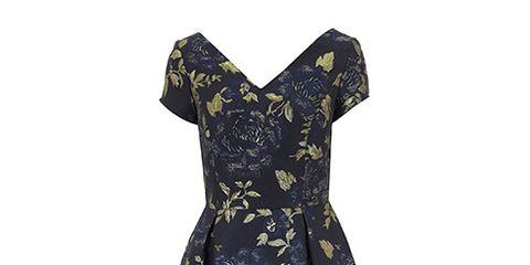 Sleeve, Dress, Textile, One-piece garment, Pattern, Formal wear, Day dress, Electric blue, Cobalt blue, Aqua,
