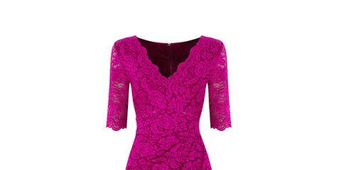 Sleeve, Shoulder, Dress, Magenta, Red, One-piece garment, Pink, Style, Pattern, Neck,