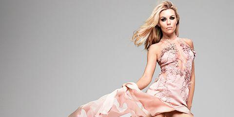 Human leg, Shoulder, Shoe, Dress, Joint, One-piece garment, Pink, Style, Fashion model, Sandal,