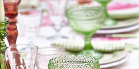 Green, Serveware, Dishware, Glass, Drinkware, Barware, Stemware, Tableware, Linens, Plate,
