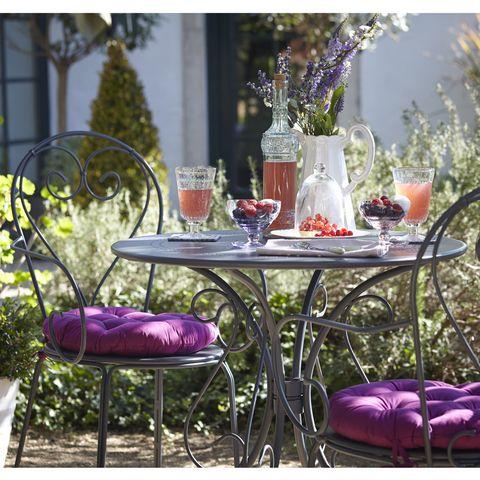 Furniture, Table, Purple, Violet, Lavender, Outdoor furniture, Outdoor table, Serveware, Centrepiece, Vase,