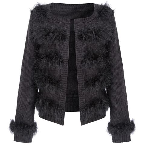 Textile, Fur clothing, Natural material, Costume accessory, Fashion, Wool, Black, Woolen, Animal product, Jacket,