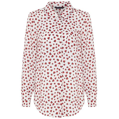 Product, Collar, Sleeve, Pattern, Textile, White, Carmine, Button, Pattern, Fashion design,