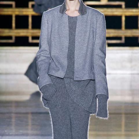 Clothing, Sleeve, Textile, Outerwear, Collar, Pattern, Fashion, Street fashion, Grey, Blazer,