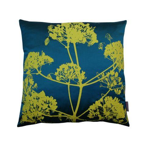 Blue, Yellow, Leaf, Cushion, Pillow, Throw pillow, Aqua, Linens, Turquoise, Home accessories,