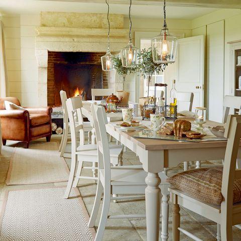 Wood, Room, Interior design, Floor, Furniture, Table, Light fixture, Dining room, Hardwood, Ceiling,
