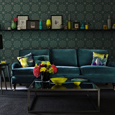 Green, Yellow, Interior design, Room, Living room, Furniture, Wall, Table, Couch, Interior design,
