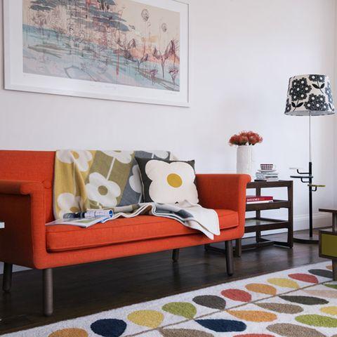 Room, Interior design, Floor, Wall, Textile, Flooring, Furniture, Home, Lamp, Orange,