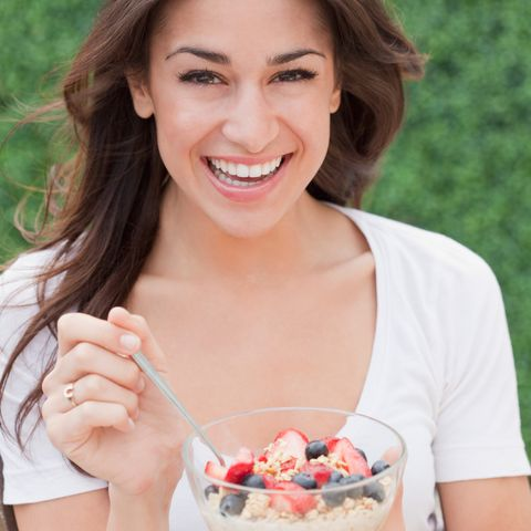 Lip, Food, Happy, Ingredient, Fruit, Tooth, Facial expression, Cuisine, Dessert, Sweetness,