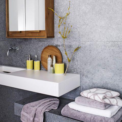 Room, Yellow, Wall, Interior design, Plumbing fixture, Tap, Grey, Rectangle, Living room, Sink,